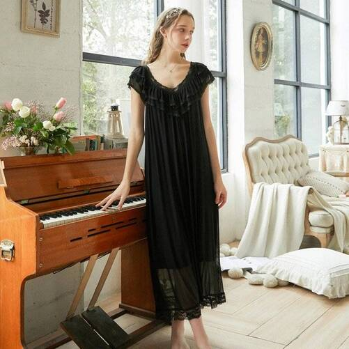 Lace Women's Nightgown with V-Neck Nightgowns & Sleepshirts Sleepwear & Loungwear Women's Clothing & Accessories