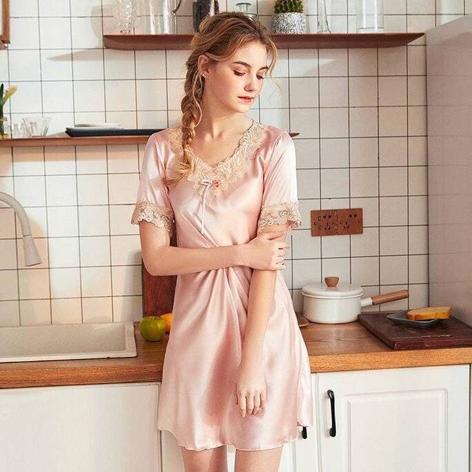 Lace Women's Sleepshirt with Short Sleeves Nightgowns & Sleepshirts Sleepwear & Loungwear Women's Clothing & Accessories