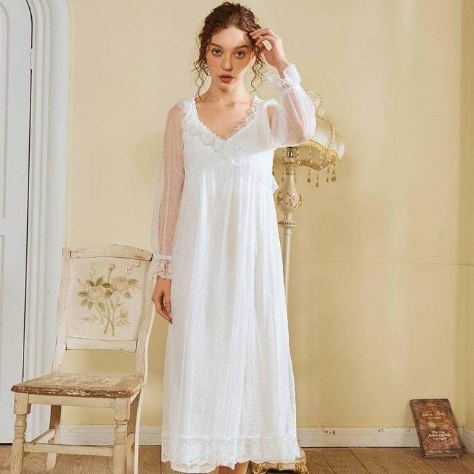 Long Mesh Nightdress for Women Nightgowns & Sleepshirts Sleepwear & Loungwear Women's Clothing & Accessories