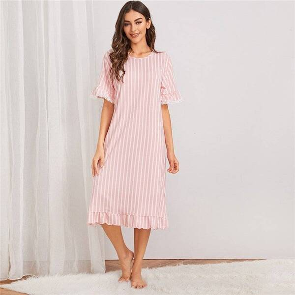 Long Women's Chemise in Stripes Nightgowns & Sleepshirts Sleepwear & Loungwear Women's Clothing & Accessories