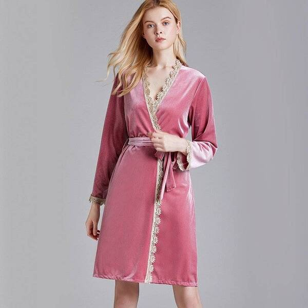 Long Women's Robe in Pink Color Robes Sleepwear & Loungwear Women's Clothing & Accessories