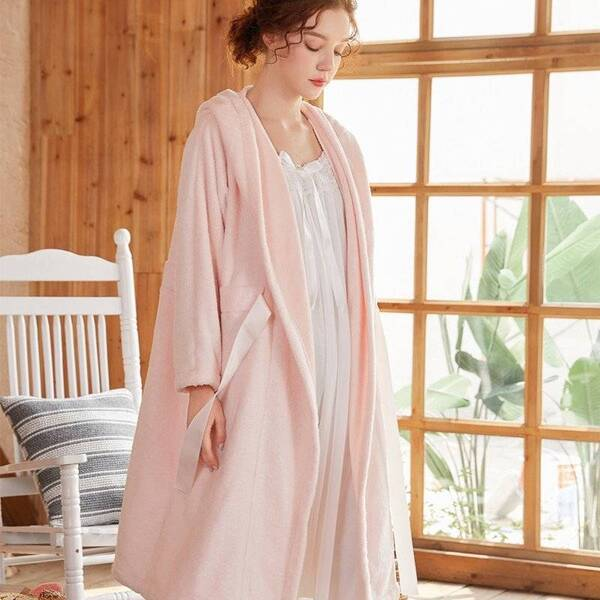 Long Women's Robe with Bow Robes Sleepwear & Loungwear Women's Clothing & Accessories