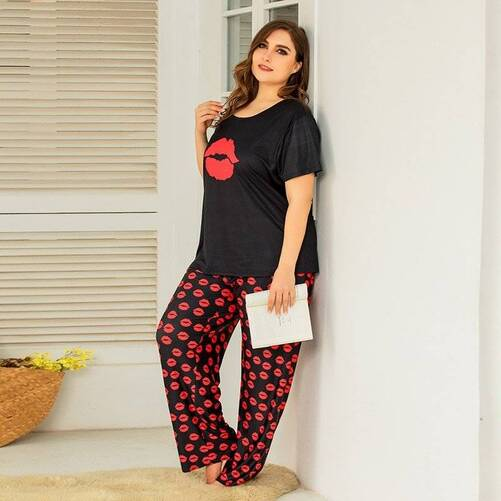 Loose Plus Size Pajama Set for Women Pajama Sets Sleepwear & Loungwear Women's Clothing & Accessories