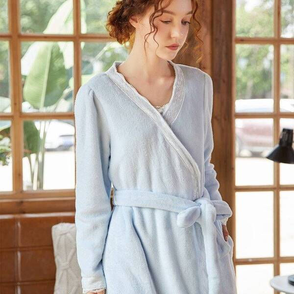 Luxury Winter Women's Robe in Pink and Blue Robes Sleepwear & Loungwear Women's Clothing & Accessories