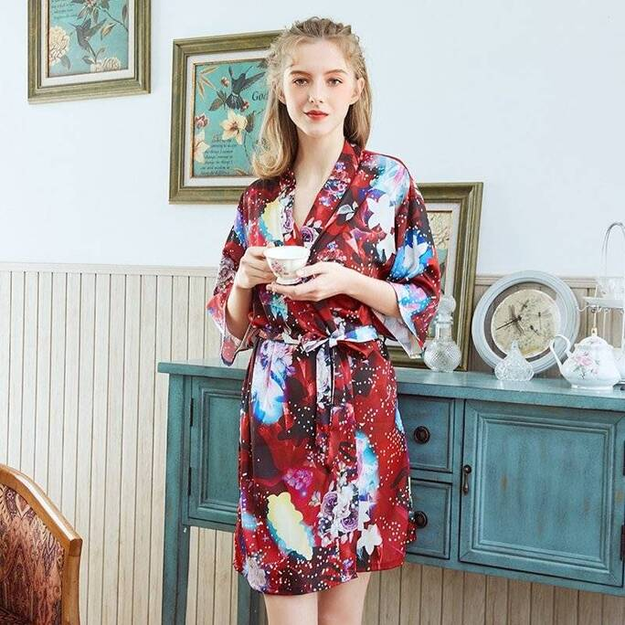 Multicolored Silk Robe for Women Robes Sleepwear & Loungwear Women's Clothing & Accessories