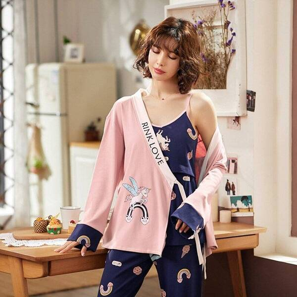 Pink / Blue Unicorn Patterned Cotton Maternity Pajamas Set for Women Pajama Sets Sleepwear & Loungwear Women's Clothing & Accessories