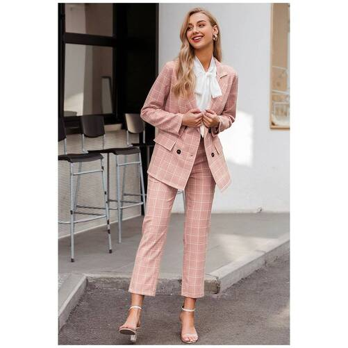 Pink Plaid Double Breasted Blazer with Pants Suit for Women Pants & Shorts Suits Suits & Sets Women's Clothing & Accessories