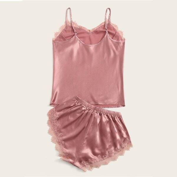 Pink Satin Women's Cami Set Pajama Sets Sleepwear & Loungwear Women's Clothing & Accessories