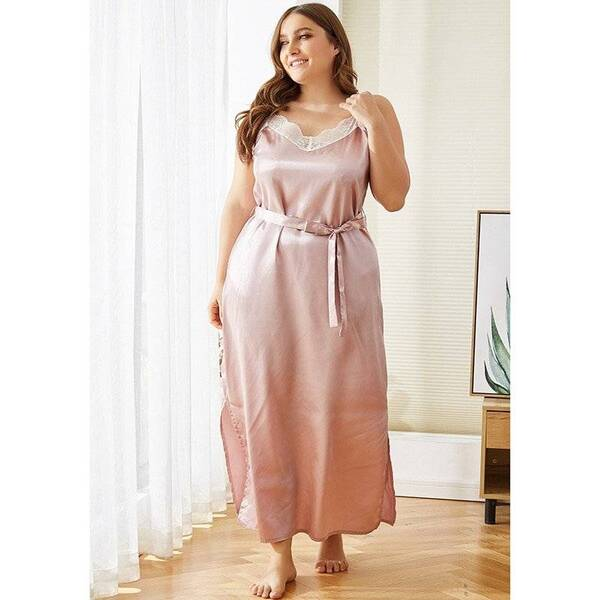 Pink Silk Night Dress for Plus Size Women Nightgowns & Sleepshirts Sleepwear & Loungwear Women's Clothing & Accessories