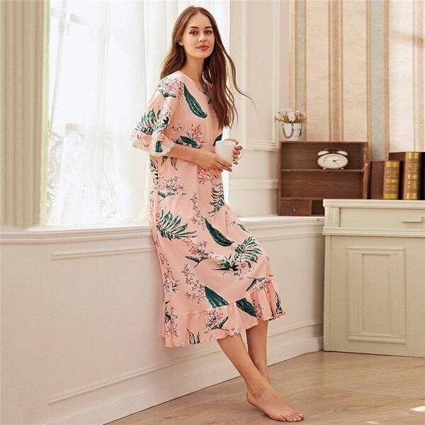 Pink Women's Chemise in Floral Print Nightgowns & Sleepshirts Sleepwear & Loungwear Women's Clothing & Accessories