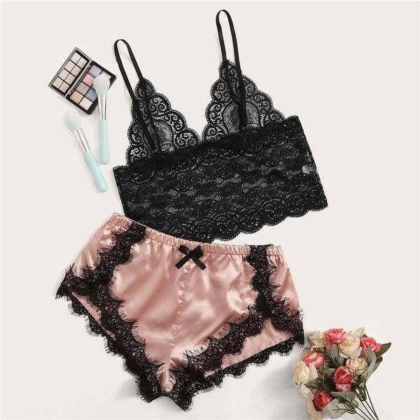 Pink and Black Women's Cami Set Pajama Sets Sleepwear & Loungwear Women's Clothing & Accessories
