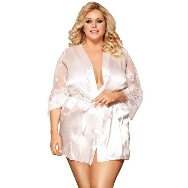 Plus Size Silk Women's Robe with Lace Robes Sleepwear & Loungwear Women's Clothing & Accessories