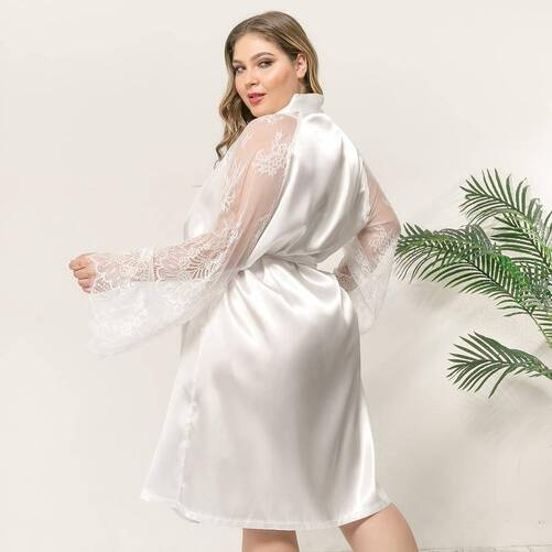Plus Size Women's Kimono with Lace Sleeves Robes Sleepwear & Loungwear Women's Clothing & Accessories