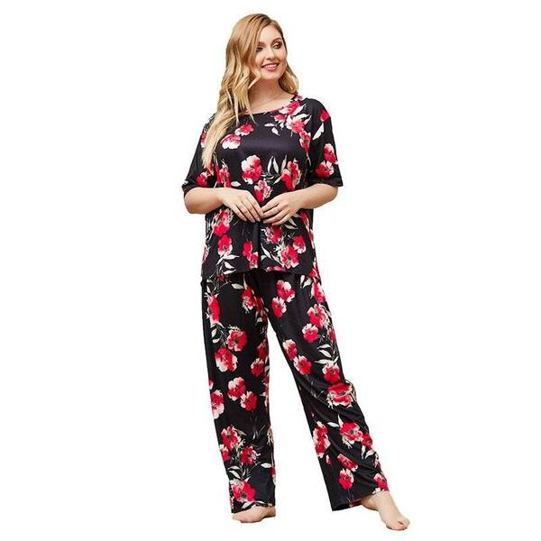 Plus Size Women's Pajama Set in Floral Print Pajama Sets Sleepwear & Loungwear Women's Clothing & Accessories