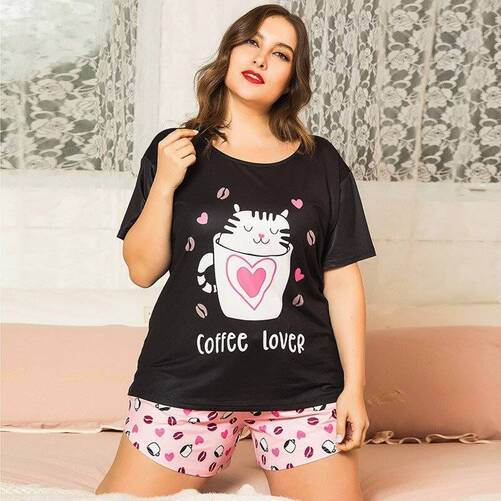 Plus Size Women's Pajama in Cat Print Pajama Sets Sleepwear & Loungwear Women's Clothing & Accessories