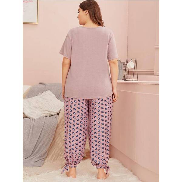 Plus Size Women's Pajama in Pink and Yellow Pajama Sets Sleepwear & Loungwear Women's Clothing & Accessories