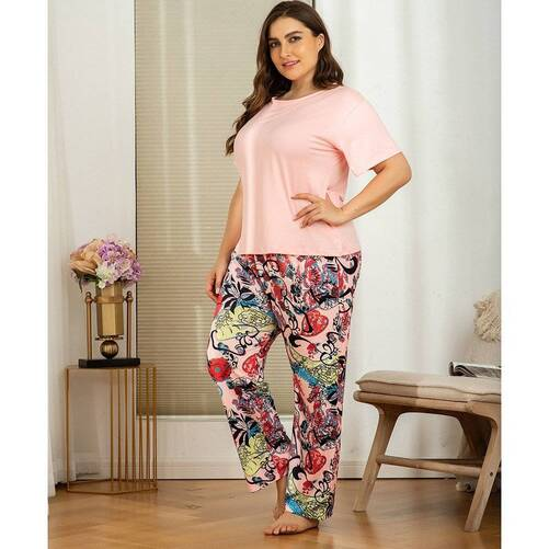 Plus Size Women's Set of Pajama Shirt and Pants Pajama Sets Sleepwear & Loungwear Women's Clothing & Accessories