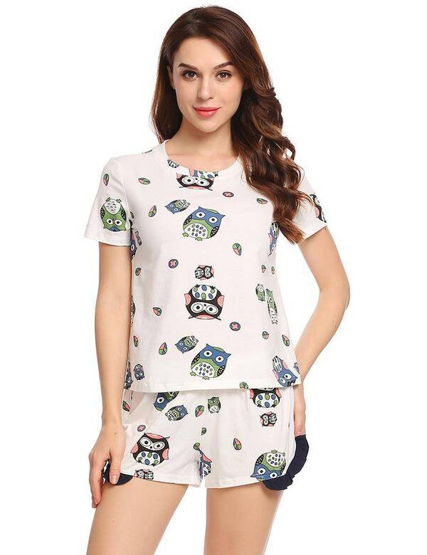 Round Neck Owl Printed Women's Pajama 2 pcs Set Pajama Sets Sleepwear & Loungwear Women's Clothing & Accessories