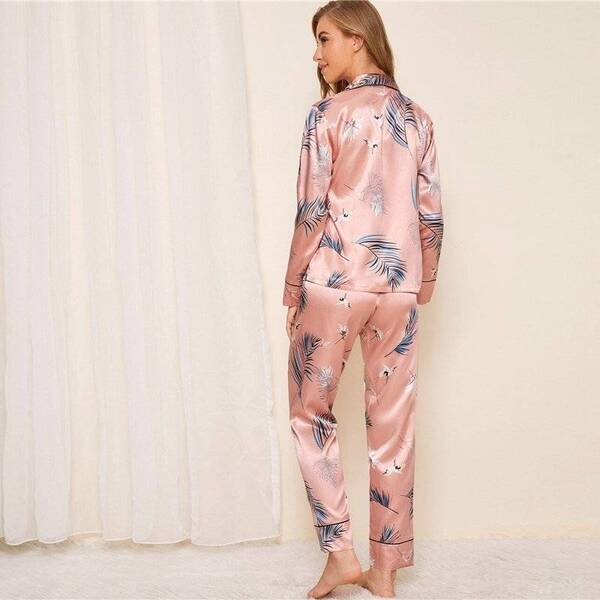 Satin Pajama Pants and Shirt for Women Pajama Sets Sleepwear & Loungwear Women's Clothing & Accessories