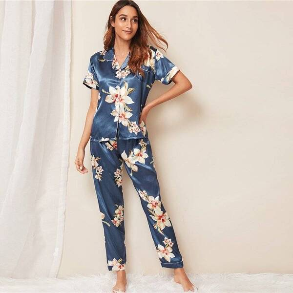 Satin Pajama Pants and Top for Women Pajama Sets Sleepwear & Loungwear Women's Clothing & Accessories