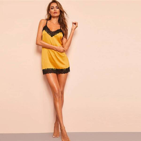 Satin Women's Chemise in Yellow Color Nightgowns & Sleepshirts Sleepwear & Loungwear Women's Clothing & Accessories