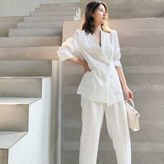 Set of Women's Blazer Ankle Pants in White Pants & Shorts Suits Suits & Sets Women's Clothing & Accessories