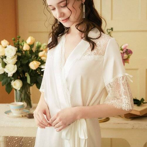 Sexy Lace Women's Robe in White Color Robes Sleepwear & Loungwear Women's Clothing & Accessories