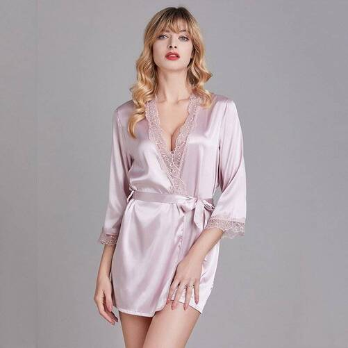 Sexy Mini Lace Robe for Women Robes Sleepwear & Loungwear Women's Clothing & Accessories