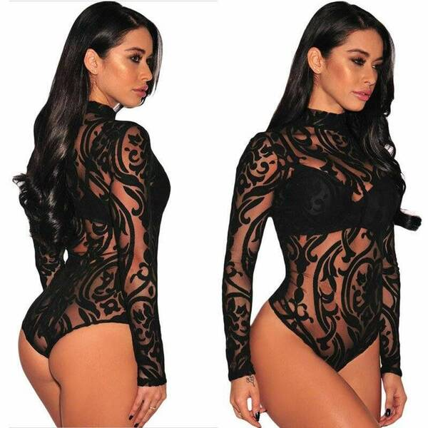 Sexy Sheer Women's Bodysuit in Black Bodysuits Suits & Sets Women's Clothing & Accessories