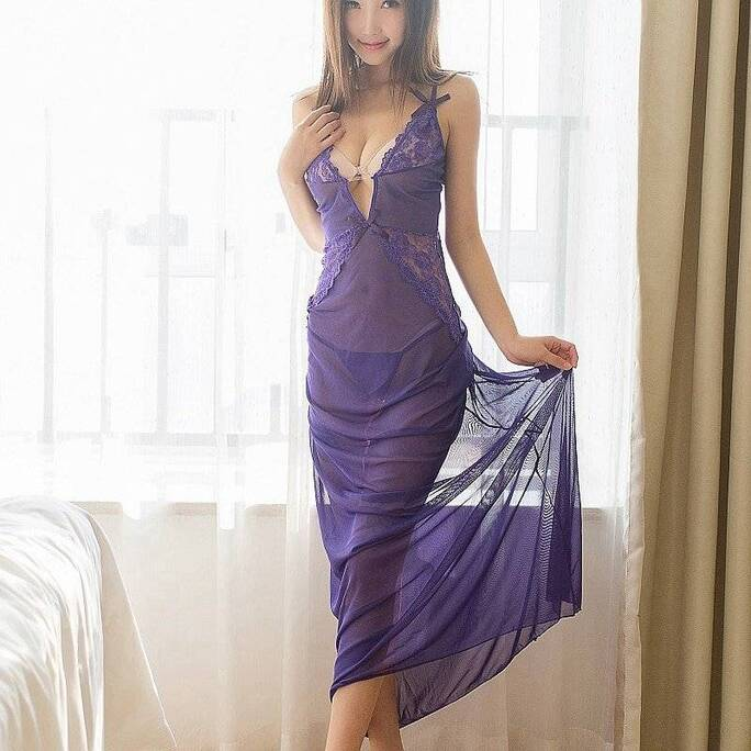 Sexy Women's Negligee in Black and Purple Nightgowns & Sleepshirts Sleepwear & Loungwear Women's Clothing & Accessories