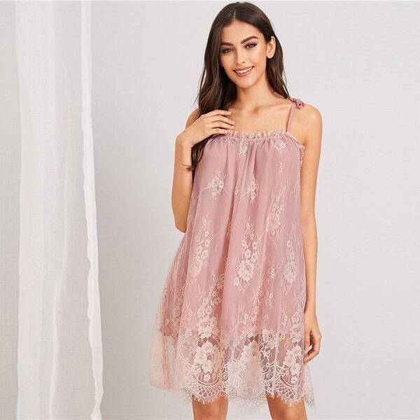 Short Lace Women's Chemise in Pink Nightgowns & Sleepshirts Sleepwear & Loungwear Women's Clothing & Accessories