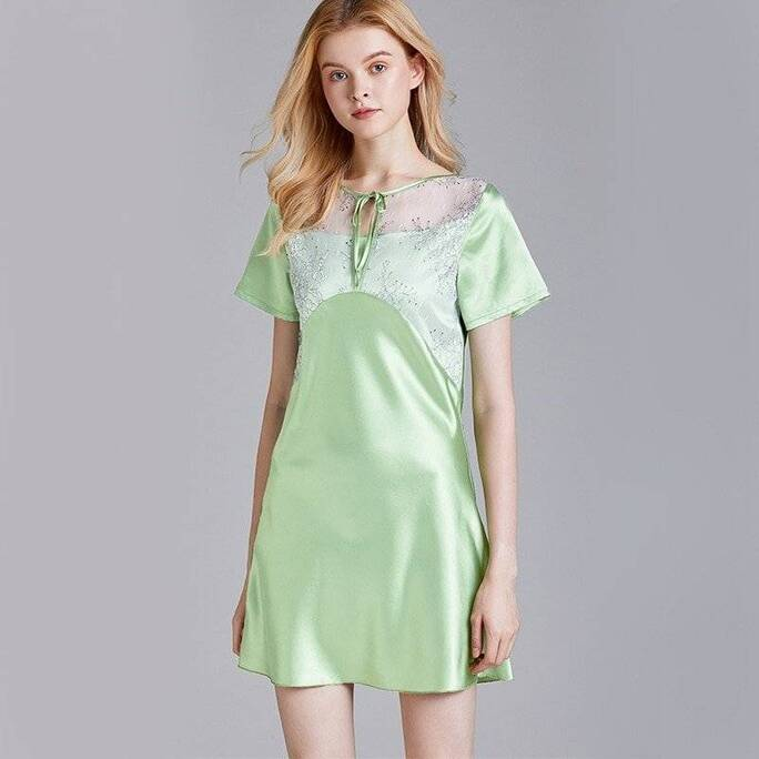 Silk Women's Nightgown with O-Neck Nightgowns & Sleepshirts Sleepwear & Loungwear Women's Clothing & Accessories