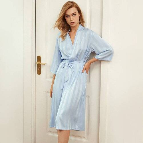 Silk Women's Robe in Stripe Print Robes Sleepwear & Loungwear Women's Clothing & Accessories