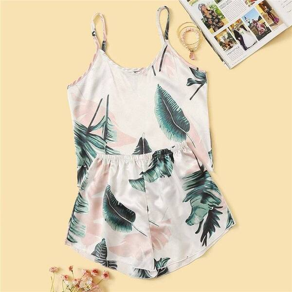 Sleeveless Women's Cami Set in Tropical Print Pajama Sets Sleepwear & Loungwear Women's Clothing & Accessories