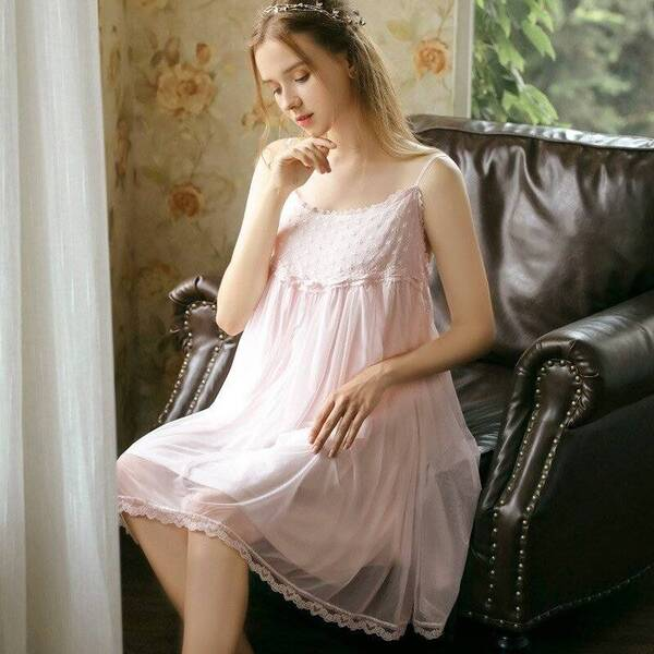 Sleeveless Women's Nightgown in Pink Nightgowns & Sleepshirts Sleepwear & Loungwear Women's Clothing & Accessories
