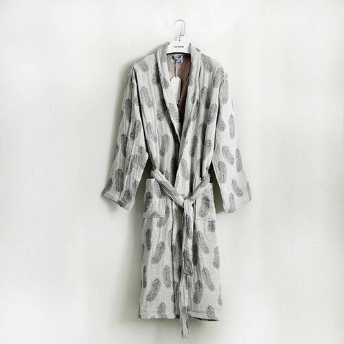 Soft Feather Patterned 100% Cotton Bath Robe for Women Robes Sleepwear & Loungwear Women's Clothing & Accessories