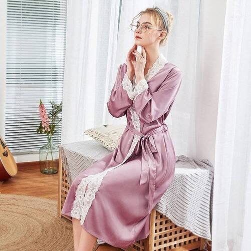 Solid Women's Robe with Lace Detailing Robes Sleepwear & Loungwear Women's Clothing & Accessories