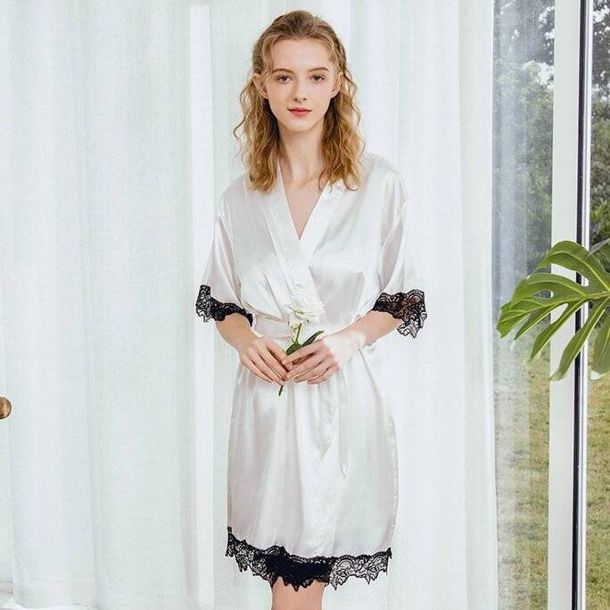 Solid Women's Robe with Lace Trim Robes Sleepwear & Loungwear Women's Clothing & Accessories
