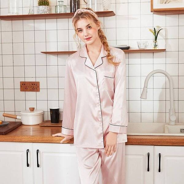 Solid Women's Sleep Pajama Set Pajama Sets Sleepwear & Loungwear Women's Clothing & Accessories