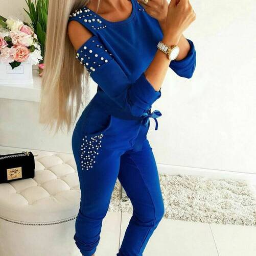 Sports Pearl Decorated Women's Tracksuits Pants & Shorts Suits Suits & Sets Women's Clothing & Accessories