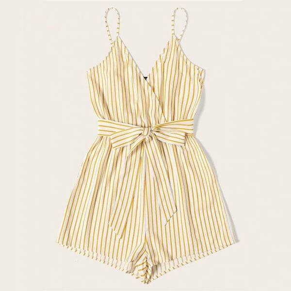 Striped Wrap Cami Romper for Women Jumpsuits Suits & Sets Women's Clothing & Accessories