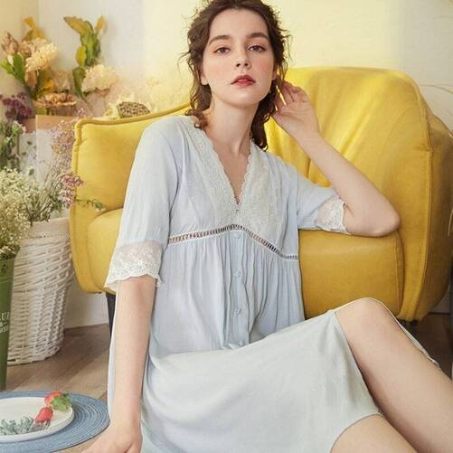 V-Neck Women's Nightgown in Multiple Colors Nightgowns & Sleepshirts Sleepwear & Loungwear Women's Clothing & Accessories