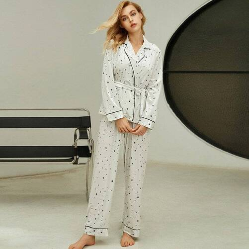 White Women's Pajama Set in Star Print Pajama Sets Sleepwear & Loungwear Women's Clothing & Accessories