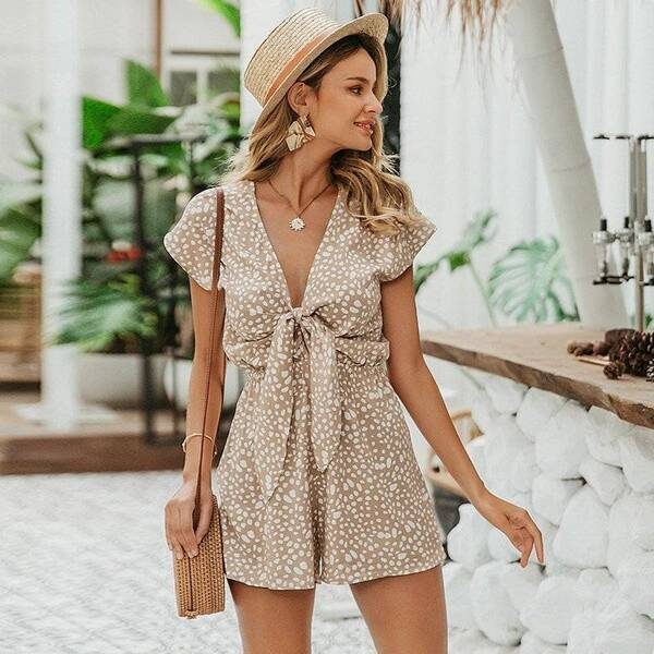 Women's Bohemian Style Leopard Pattern Rompers Jumpsuits Suits & Sets Women's Clothing & Accessories