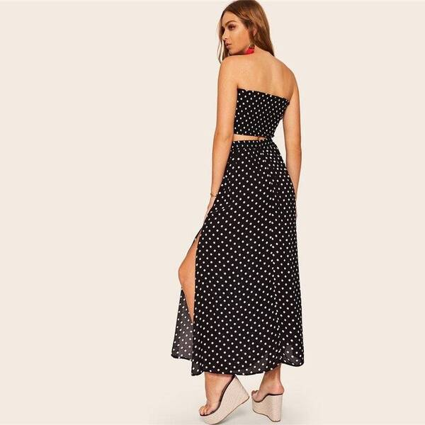 Women's Boho Style Polka Dot Top and Skirt Set Skirt Suits Suits & Sets Women's Clothing & Accessories