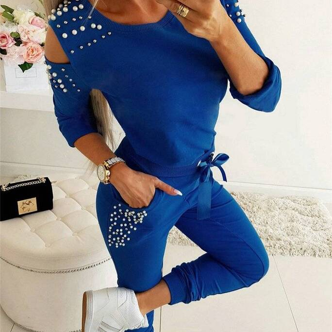 Women's Casual Hollow Out Beading Top and Pants Set Pants & Shorts Suits Suits & Sets Women's Clothing & Accessories