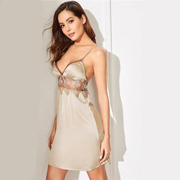 Women's Chemise with Lace Belt Nightgowns & Sleepshirts Sleepwear & Loungwear Women's Clothing & Accessories