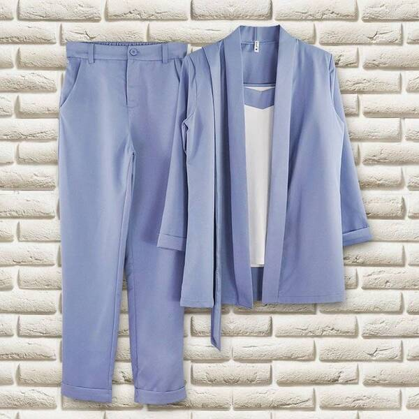 Women's Classic Style Blue Sleeveless Top and Blazer with Pants Set Pants & Shorts Suits Suits & Sets Women's Clothing & Accessories