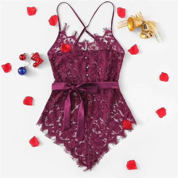 Women's Floral Lace Decorated Belted Bodysuit Bodysuits Suits & Sets Women's Clothing & Accessories