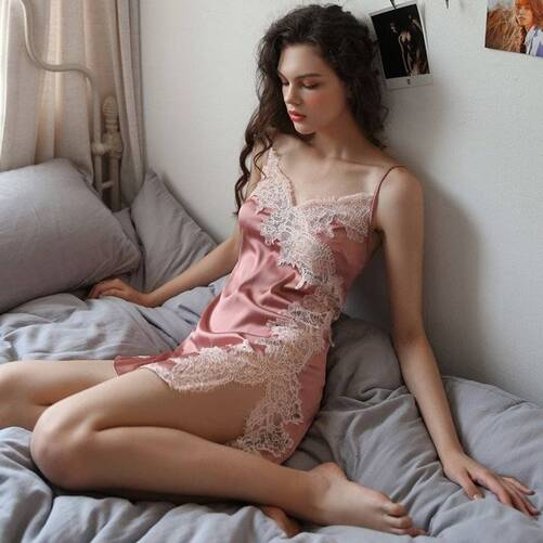 Women's Floral Lace Decorated Mini Cami Nightgown Nightgowns & Sleepshirts Sleepwear & Loungwear Women's Clothing & Accessories